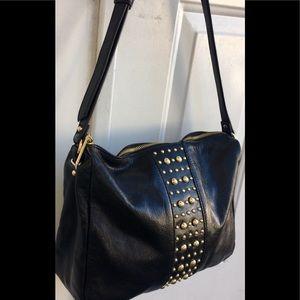 Badgley Mischka Leather Gold Stud Crossbody Bag